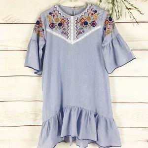 Zara Embroidered Bell Sleeve Cotton Mini Dress